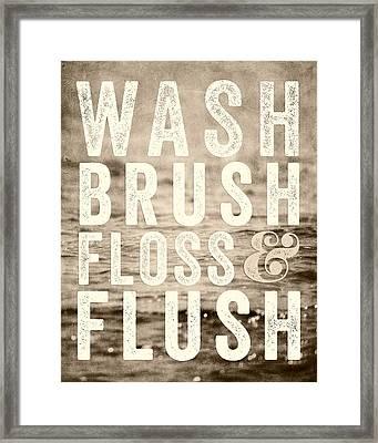 Sepia Bathroom Art Wash Brush Floss And Flush Framed Print by Lisa Russo