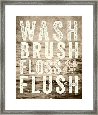 Sepia Bathroom Decor Typography For Kids Bathroom Framed Print by Lisa Russo