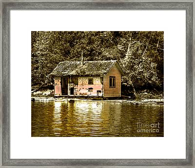 Sepia Floating House Framed Print by Robert Bales