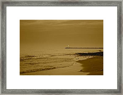 Sepia Lighthouse Framed Print by Frozen in Time Fine Art Photography