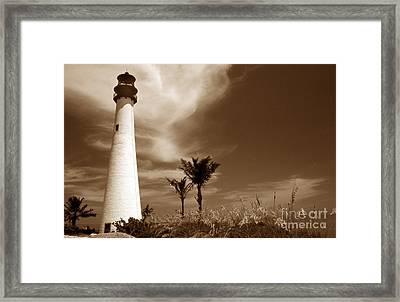Sepia Tone Cape Florida Light Framed Print by Skip Willits