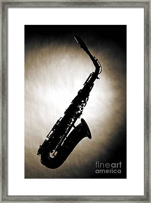 Sepia Tone Silhouette Of A Alto Saxophone 3357.01 Framed Print by M K  Miller
