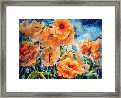 September Orange Poppies            Framed Print by Kathy Braud