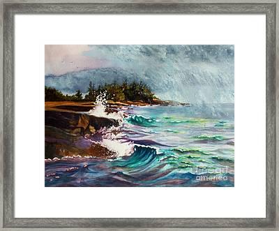 September Storm Lake Superior Framed Print by Kathy Braud