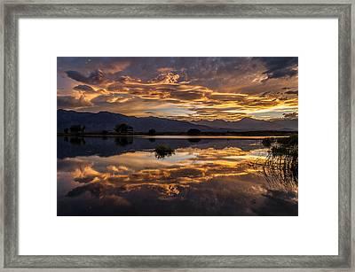 September Sunset Reflected Framed Print by Cat Connor