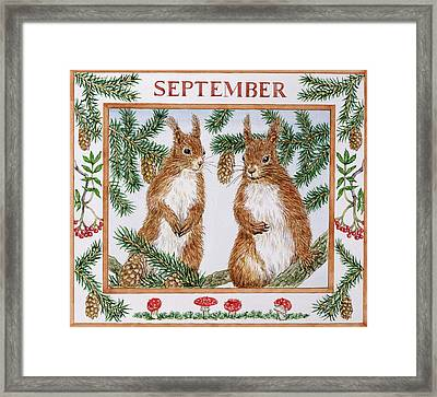 September Wc On Paper Framed Print by Catherine Bradbury