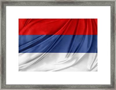 Serbian Flag Framed Print by Les Cunliffe
