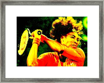 Serena Williams In A Zone Framed Print by Brian Reaves