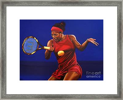 Serena Williams Painting Framed Print by Paul Meijering