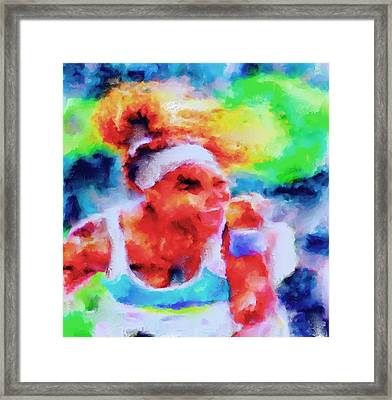 Serena Williams Yes Framed Print by Brian Reaves