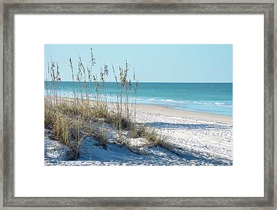 Serene Florida Beach Scene Framed Print by Rebecca Brittain
