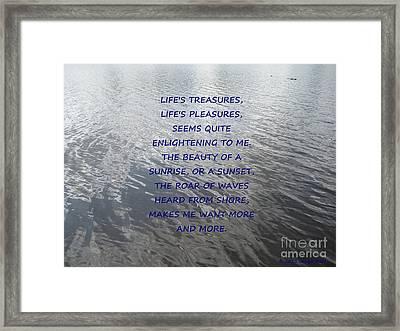 Serene Water Framed Print by Joseph Baril
