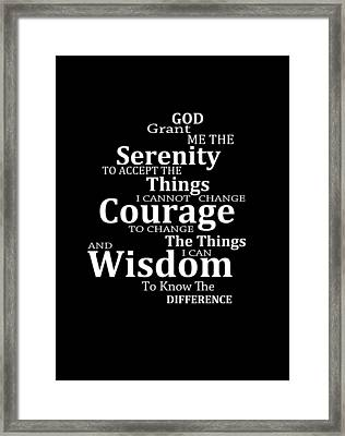 Serenity Prayer 5 - Simple Black And White Framed Print by Sharon Cummings