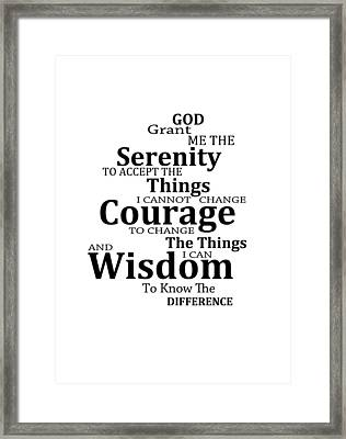 Serenity Prayer 6 - Simple Black And White Framed Print by Sharon Cummings