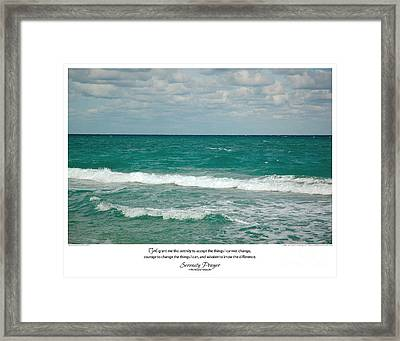 Serenity Prayer Print -- Crashing Waves At Hilton Head Framed Print by Spirit Greetings