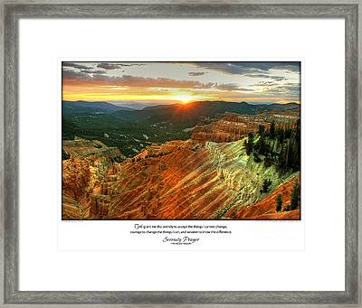 Serenity Prayer Print -- Sunset At Cedar Breaks National Park Framed Print by Spirit Greetings