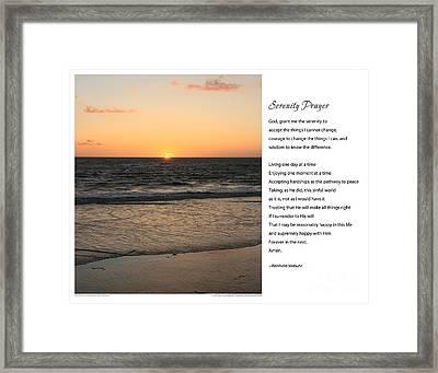 Serenity Prayer Print -- Sunset From Santa Monica Pier Framed Print by Spirit Greetings