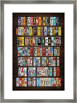 Serenity Prayer Reinhold Niebuhr Recycled Vintage American License Plate Letter Art Framed Print by Design Turnpike