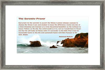 Serenity Prayer Seaspray In The Rain Framed Print by Barbara Snyder
