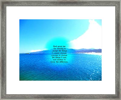 Serenity Prayer With Blue Ocean And Amazing Sky Framed Print by Valentino Wolf