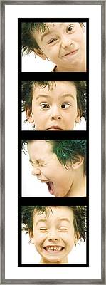 Series Of Portraits Of Boy With Green Framed Print by Chris and Kate Knorr