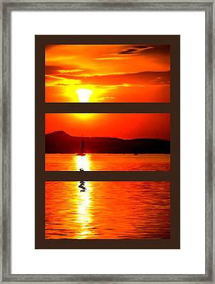 Serious Sunset Triptych Framed Print by Bruce Nutting