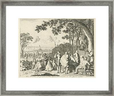 Sermons Outside Antwerp, 1566, Belgium, Jan Luyken Framed Print by Jan Luyken And Abraham Wolfgang