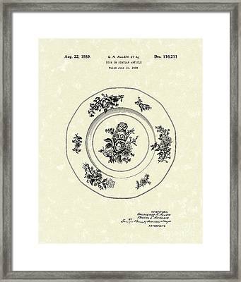 Serving Dish 1939 Patent Art Framed Print by Prior Art Design