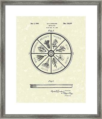 Serving Tray 1940 Patent Art Framed Print by Prior Art Design