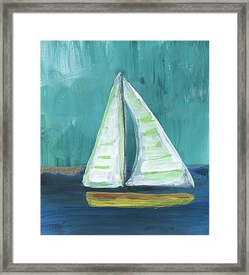 Set Free- Sailboat Painting Framed Print by Linda Woods