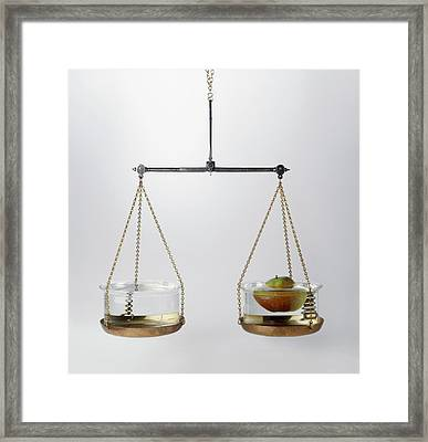 Set Of Scales With A Bowl Of Water Framed Print by Dorling Kindersley/uig