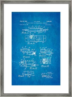Seth Lover Gibson Humbucker Pickup 2 Patent Art 1959 Blueprint Framed Print by Ian Monk