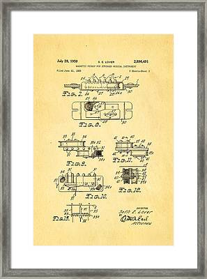 Seth Lover Gibson Humbucker Pickup 2 Patent Art 1959 Framed Print by Ian Monk