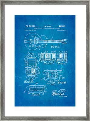 Seth Lover Gibson Humbucker Pickup Patent Art 1959 Blueprint Framed Print by Ian Monk