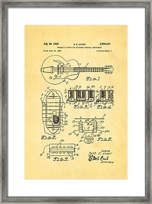 Seth Lover Gibson Humbucker Pickup Patent Art 1959 Framed Print by Ian Monk