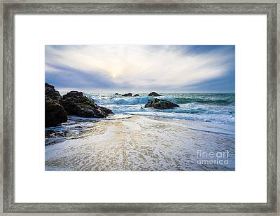 Setting Sun And Rising Tide Framed Print by CML Brown