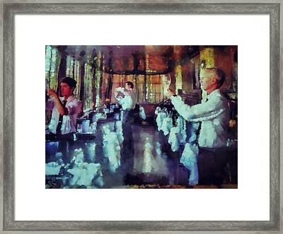 Setting Up For Dinner  Framed Print by Janice MacLellan