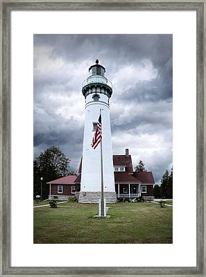 Seul Choix Point Lighthouse In Michigan Framed Print by Randall Nyhof
