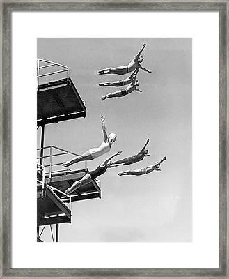 Seven Champion Diving In La Framed Print by Underwood Archives