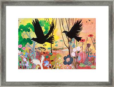 Seven Circling Crows Framed Print by Robin Maria Pedrero