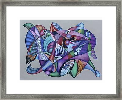 Seven Creatures For Seven Seas Framed Print by Lonnie C Tapia
