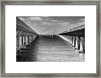 seven mile bridge BW Framed Print by Rudy Umans