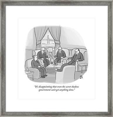 Several Angry-looking Old Men In Suits Sit Framed Print by Paul Noth