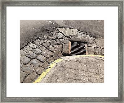 Sewer And Corner Framed Print by Ron Torborg
