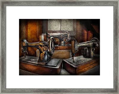 Sewing - A Chorus Of Three Framed Print by Mike Savad