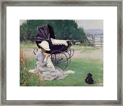 Sewing In The Sun, 1913 Framed Print by Brake Baldwin