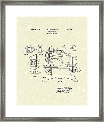 Sewing Machine 1936 Patent Art Framed Print by Prior Art Design