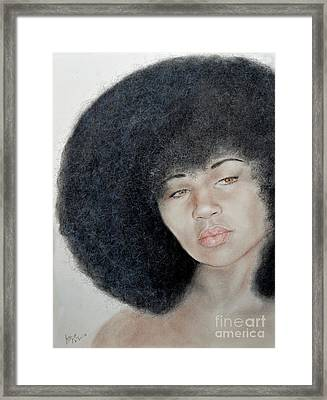 Sexy Aevin Dugas Holder Of The Guinness Book Of World Records For The Largest Afro Framed Print by Jim Fitzpatrick