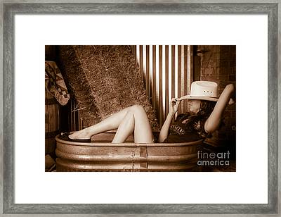Sexy Cowgirl Framed Print by Nicholas  Pappagallo Jr