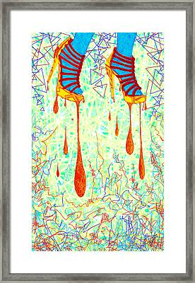 Sexy High Heels Gold Abstraction Framed Print by Pierre Louis